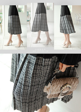 Two Color Tweed Pleated Long Skirt, Styleonme