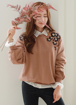 Flower Embroidered Sweatshirt, Styleonme
