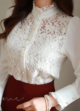 Pearl Button Floral Lace Blouse, Styleonme