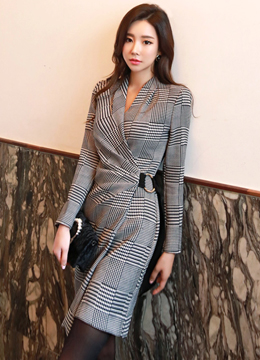 Check Print Wrap Style Shirred Dress, Styleonme