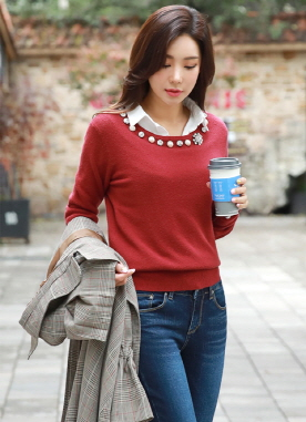 Jeweled Neckline Knit Sweater, Styleonme