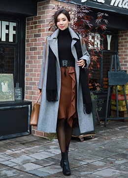 Two Color Herringbone Patterned Trench Coat, Styleonme