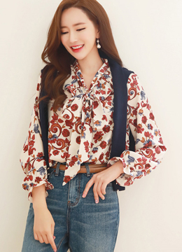 Paisley Print Ribbon Tie Frill Blouse, Styleonme