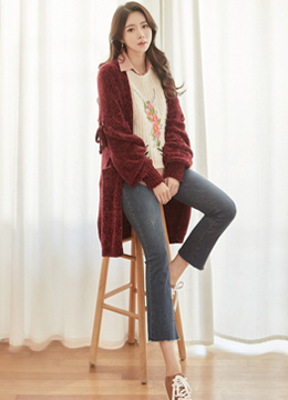 Ribbon Eyelet Sleeve Detail Loose Fit Cardigan, Styleonme