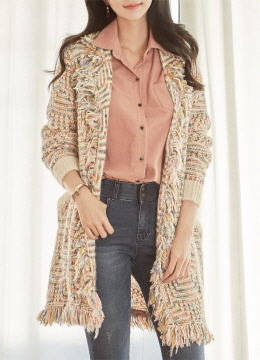 Fringe Trim Mix Color Open-front Cardigan, Styleonme