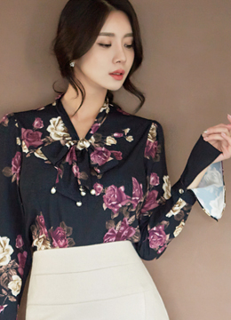 Floral Print Tie Neck Bell Sleeve Blouse, Styleonme