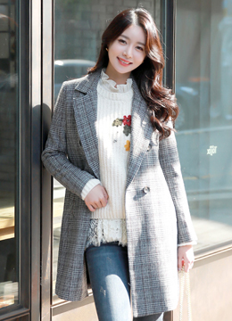Wool Blend Check Print Double-Breasted Jacket, Styleonme