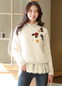 Flower Embroidered Back Ribbon Knit Sweater, Styleonme