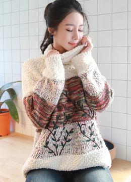 Leaf Embroidered Knit Turtleneck Sweater, Styleonme