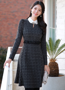 Black Floral Belted Check Print Collared Dress, Styleonme