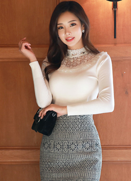 Jeweled Lace Neckline Slim Fit Knit Tee, Styleonme