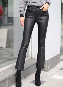 Coated Black Boot-Cut Jeans, Styleonme