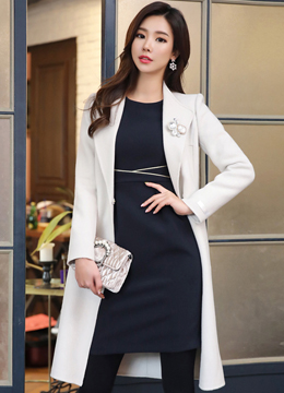 Wool Handmade Belted Long Coat, Styleonme