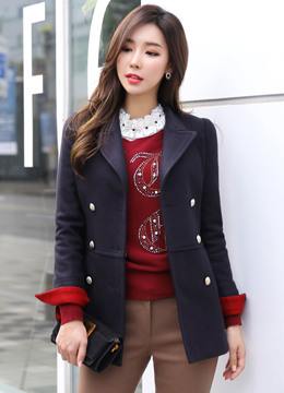 Double-Breasted Wool Blend Tailored Coat, Styleonme