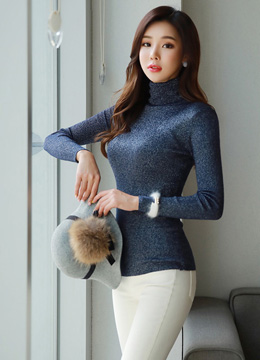 Pearly Ribbed Turtleneck T-shirt, Styleonme