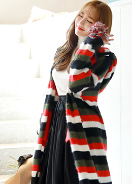 Pom Pom Detail Stripe Hooded Long Cardigan, Styleonme