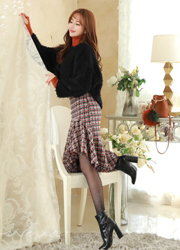 Asymmetrical Flounced Hem Tweed Skirt, Styleonme