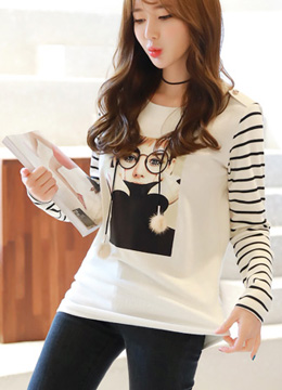 Fashion Illustration Print Stripe Sleeve T-shirt, Styleonme