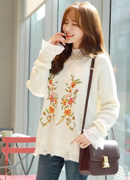 Flower Embroidered Loose Fit Sweater, Styleonme