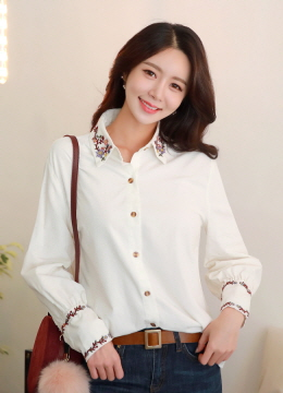 Flower Embroidered Collared Shirt, Styleonme