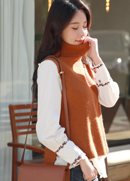 Turtleneck Knit Vest, Styleonme
