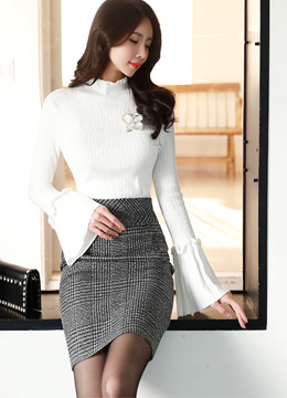 Check Print High-Waisted Pencil Skirt, Styleonme