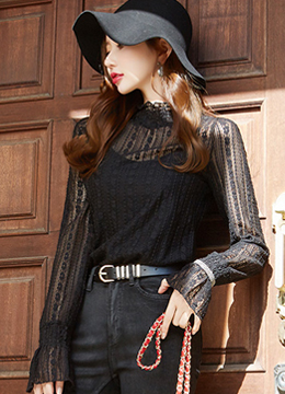 See-through Floral Lace Bell Sleeve Blouse, Styleonme