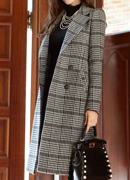 Houndstooth Check Print Long Double-Breasted Coat, Styleonme
