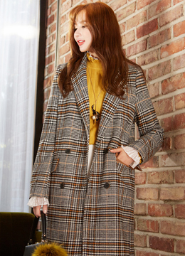 Check Print Double-Breasted Long Coat, Styleonme