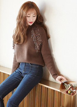 Bead and Sequin Detail Knit Sweater, Styleonme