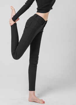 Fleece-lined Mid-Rise Skinny Pants, Styleonme