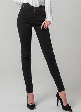Three Button Stretchy Skinny Pants, Styleonme