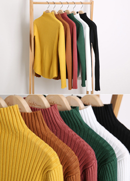 Mock Neck Ribbed Slim Knit Tee, Styleonme