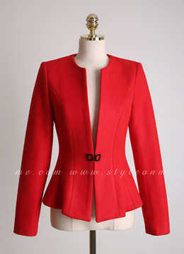 Wool Blend Collarless Flared Jacket, Styleonme