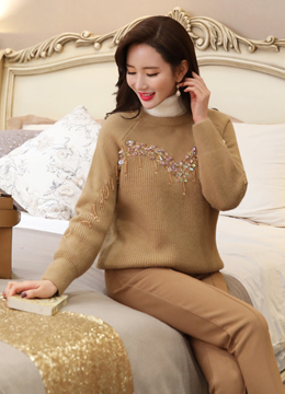 Bead and Sequin Accent Knit Sweater, Styleonme