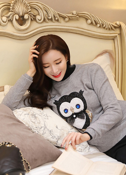 Sparkly Owl Sequined Knit Sweater, Styleonme
