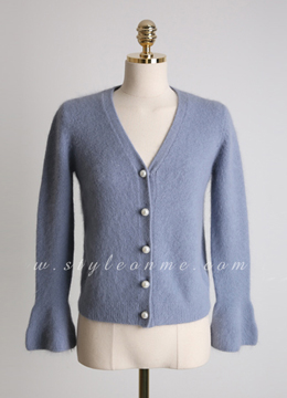 Angora Pearl Button Bell Sleeve Cardigan, Styleonme