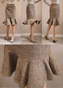 Check Print Flounced Skirt, Styleonme