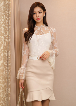 Romantic Lace See-through Bell Sleeve Blouse, Styleonme