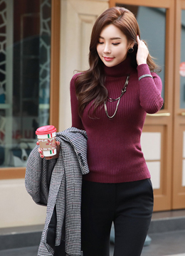 Dailywear Turtleneck Ribbed Knit Tee, Styleonme
