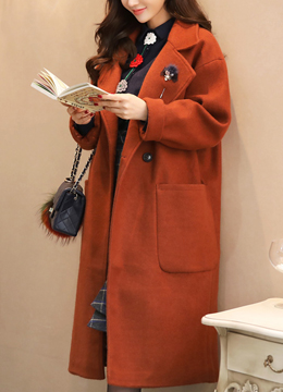 Oversized Twin Pocket Wool Blend Long Coat, Styleonme