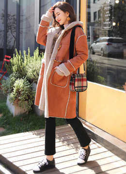 Soft Hooded Mustang Coat, Styleonme