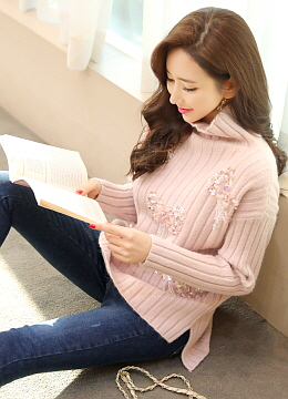 Ribbon Sequined Soft Ribbed Knit Sweater, Styleonme