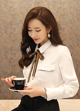 Metallic Ribbon Set Collared Shirt, Styleonme