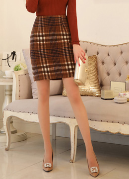 Check Print Wool Blend Pencil Skirt, Styleonme