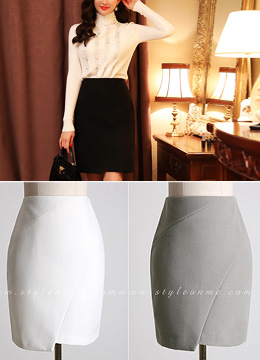 Asymmetrical Hem Incision H-Line Skirt, Styleonme