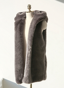 Soft Faux Fur Hooded Vest, Styleonme