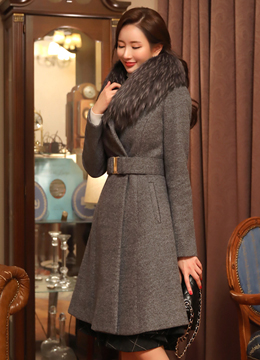 Wool Blend Belted Tailored Flared Coat, Styleonme