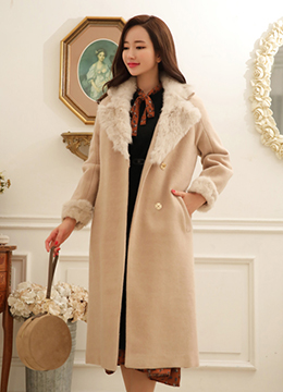 Rabbit Fur Trim Wool Blend Long Coat, Styleonme
