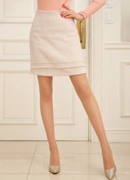 Pearl Accent Mini H-Line Skirt, Styleonme